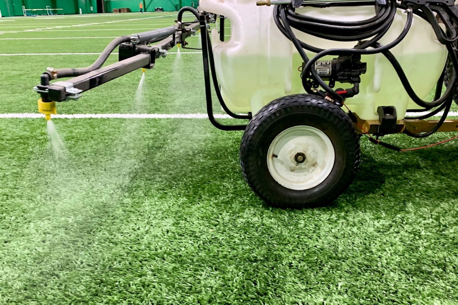 We offer artificial turf disinfectant as part of our artificial turf maintenance program